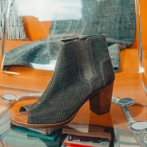 Toms Olive Perforated Suede Ankle Booties 11